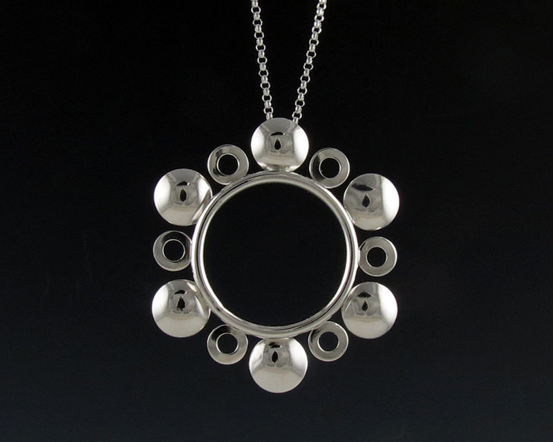 Modern sterling silver sunflower pendant necklace aloadofball Gallery
